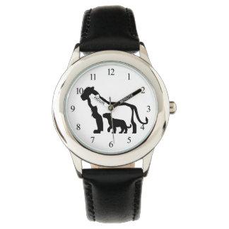 Leones blancos y negros relojes de mano