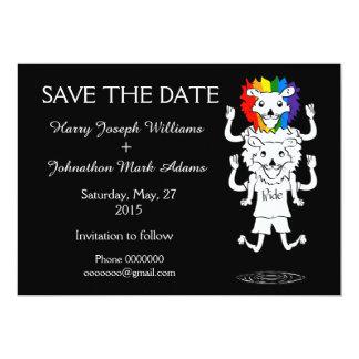 Leones del orgullo gay que casan reserva la fecha invitación 12,7 x 17,8 cm