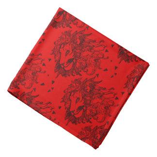 Leones rojos y triángulos modelados bandana