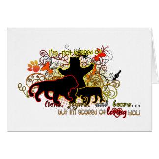 Leones, tigres, y osos tarjeta de felicitación