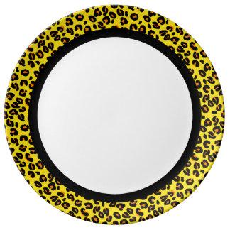 Leopardo anaranjado y amarillo con la banda negra plato de porcelana