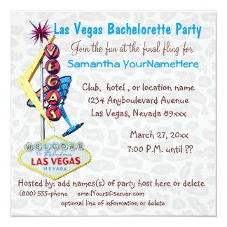 Leopardo Bachelorette de Las Vegas y muestra del Invitación 13,3 Cm X 13,3cm