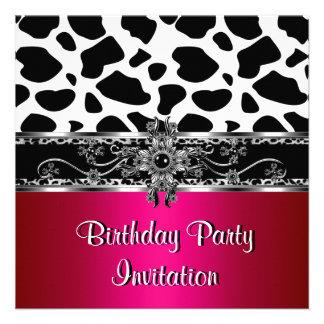 Leopardo blanco negro de plata rosado de la vaca d anuncio personalizado