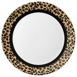 Leopardo clásico con la banda negra en blanco plato de porcelana