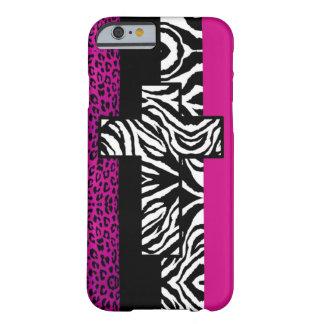 Leopardo de las rosas fuertes y animal de la cebra funda de iPhone 6 barely there