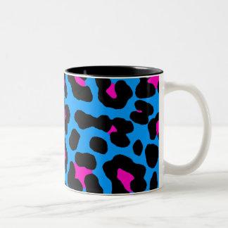 Leopardo del azul del vintage del tigre 80s de Cor Tazas