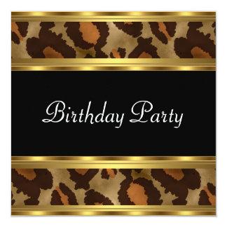Leopardo del oro de la fiesta de cumpleaños invitación 13,3 cm x 13,3cm