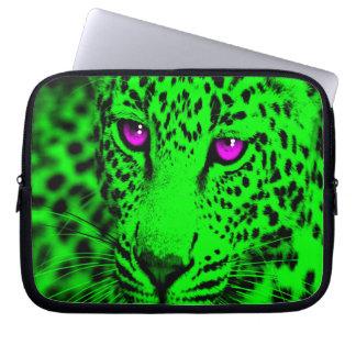 Leopardo del tigre 80s de Corey (verde) Mangas Portátiles