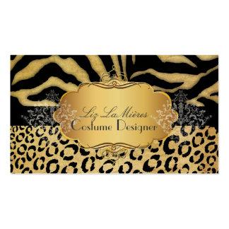 Leopardo del vintage de PixDezines, cebra + Plantilla De Tarjeta De Visita