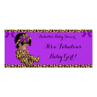 Leopardo lindo 3 del chica del bebé fabuloso de la póster