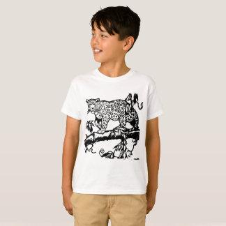 Leopardo lindo animal de las mangas cortas de la camiseta