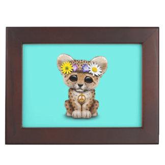 Leopardo lindo Cub del Hippie Caja De Recuerdos