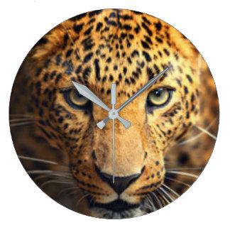 Leopardo manchado negro de Brown Reloj Redondo Grande
