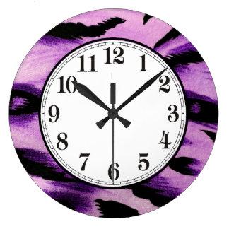 Leopardo púrpura reloj redondo grande
