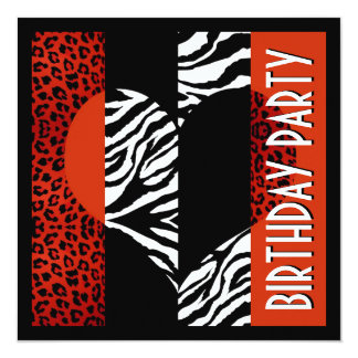 Leopardo rojo del estampado de animales y cebra invitación 13,3 cm x 13,3cm