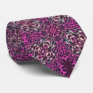 Leopardo rosado fluorescente corbatas personalizadas