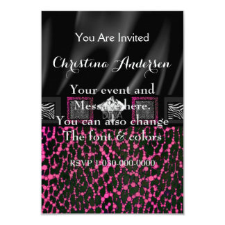 Leopardo rosado fluorescente de la diva invitación 8,9 x 12,7 cm