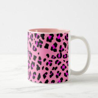 leopardo rosado taza dos tonos