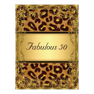 Leopardo y oro fabulosos en la fiesta de invitación 16,5 x 22,2 cm
