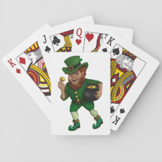 Leprechaun afortunado del día de St Patrick s Baraja De Cartas