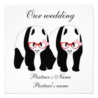 Lesbiana invitación del boda de la panda