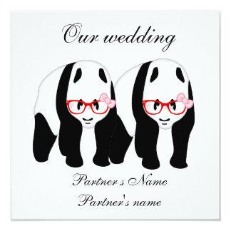 Lesbiana, invitación del boda de la panda
