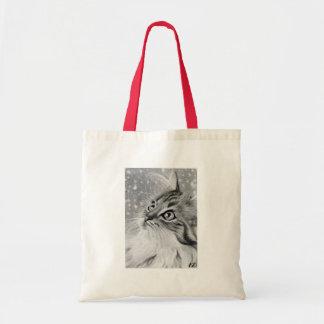 Let es gato del gatito de la nieve bolso de tela