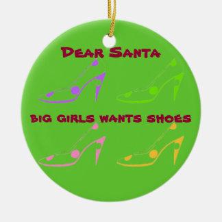 Letra a Santa para las mujeres que aman los zapato Ornamento Para Arbol De Navidad