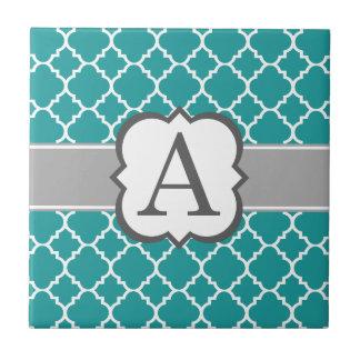 Letra azul del monograma del trullo un Quatrefoil Azulejo Cuadrado Pequeño