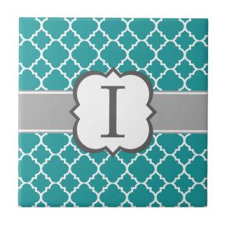 Letra azul I Quatrefoil del monograma del trullo Azulejo Cuadrado Pequeño