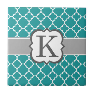 Letra azul K Quatrefoil del monograma del trullo Azulejo Cuadrado Pequeño