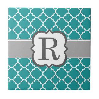 Letra azul R Quatrefoil del monograma del trullo Azulejo Cuadrado Pequeño