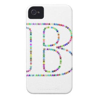 Letra B de la estrella del arco iris Funda Para iPhone 4