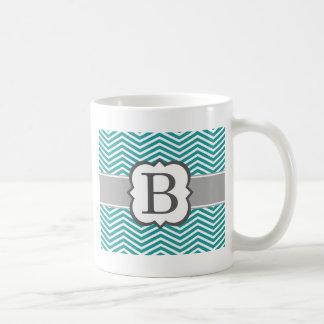 Letra blanca B Chevron del monograma del trullo Taza De Café