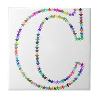 Letra C de la estrella del arco iris Azulejo De Cerámica