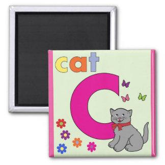 """Letra """"C"""" para el imán de los niños del gato"""