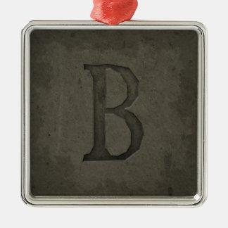 Letra concreta B del monograma Adorno Navideño Cuadrado De Metal