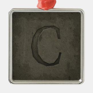 Letra concreta C del monograma Adorno Navideño Cuadrado De Metal