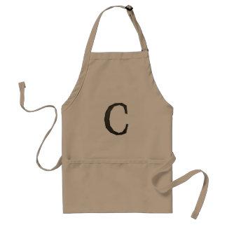 Letra concreta C del monograma Delantal