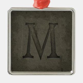 Letra concreta M del monograma Adorno Navideño Cuadrado De Metal