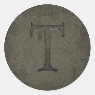 Letra concreta T del monograma Pegatina Redonda