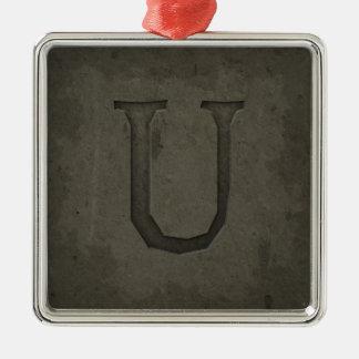 Letra concreta U del monograma Adorno Navideño Cuadrado De Metal