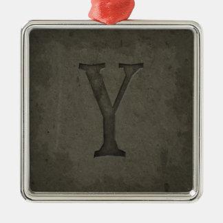 Letra concreta Y del monograma Adorno Navideño Cuadrado De Metal