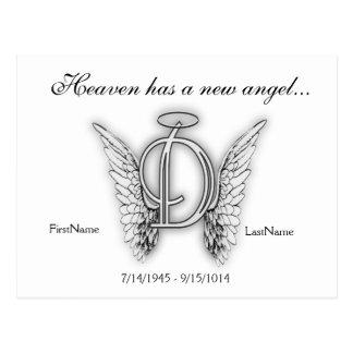 Letra conmemorativa D del tributo del monograma Postal