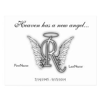 Letra conmemorativa R del tributo del monograma Postal