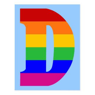 Letra D del arco iris Postal