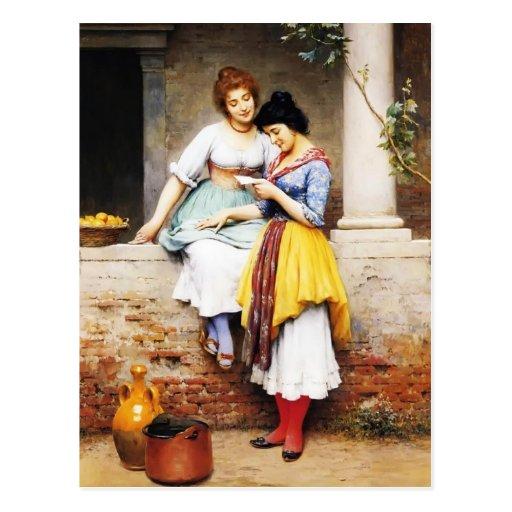 Letra de amor de Eugene de Blaas- The Tarjetas Postales
