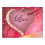 Letra de amor rosada del corazón postal