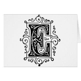 Letra decorativa de E Tarjetas