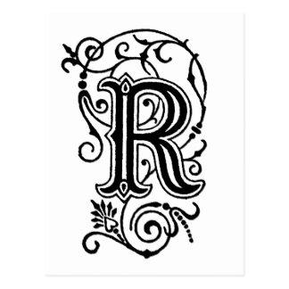 Letra decorativa de R Tarjetas Postales